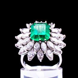 Smaragdring 18K Weissgold Diamanten Luxusring