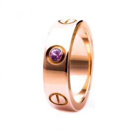 LOVE Damenring 18K Rosegold Saphir Luxusschmuck