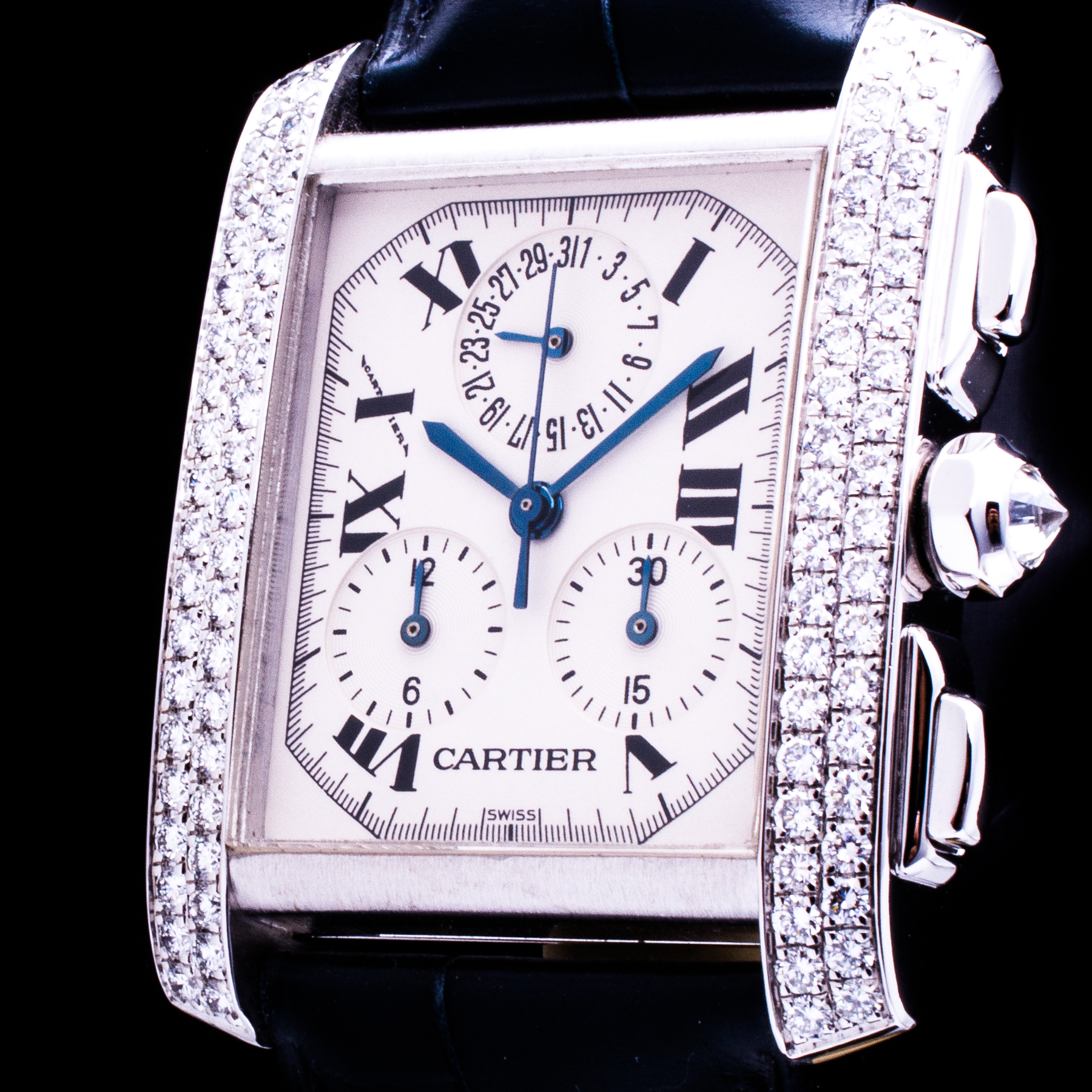 Tank Française 18K Weissgold Chronograph Date Factory Diamonds Ref. 2367