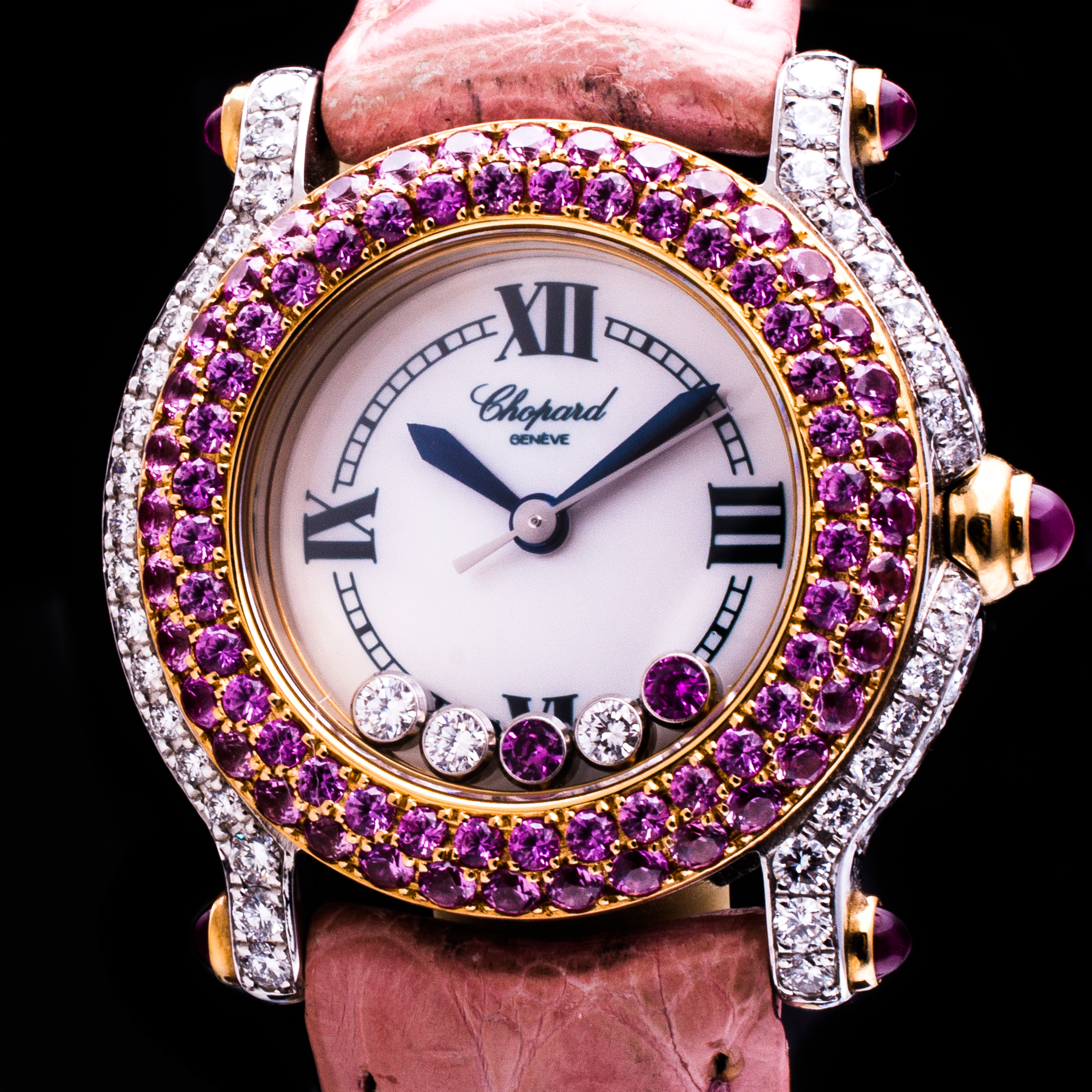 Happy Sport Lady 18K Gold/Weissgold Perlmutt Pink Diamonds