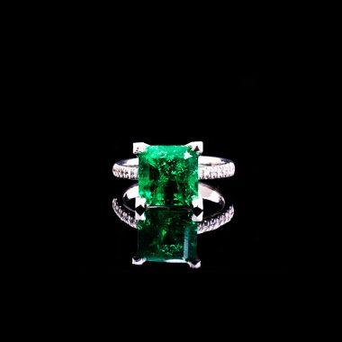 18K Weissgold Smaragd 3,87 ct. GRS Zertifikat Brillanten 0,21 ct. Damenring