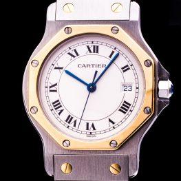 Santos Ronde Stahl/ Gold Date Medium